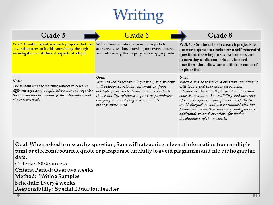 Writing Grade 5 Grade 6 Grade 8