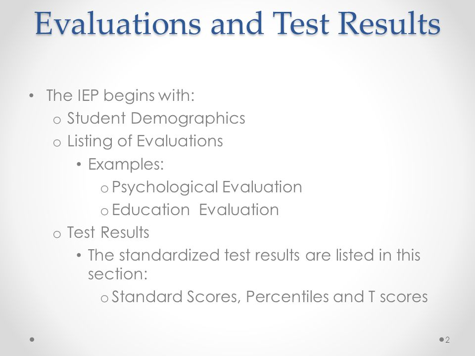 Evaluations and Test Results