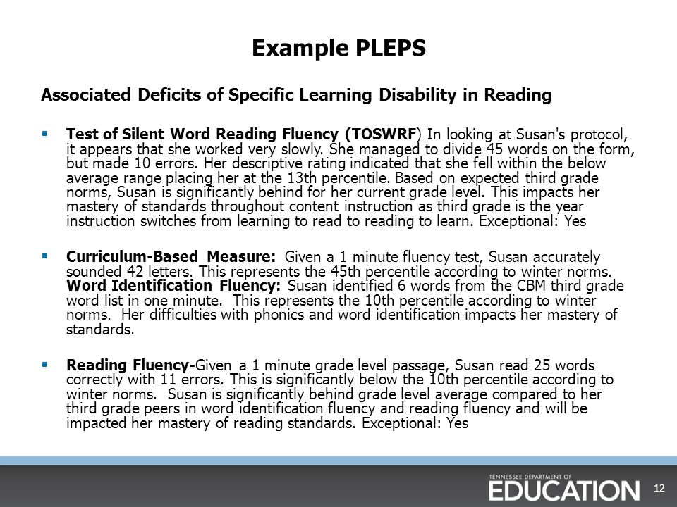 Example PLEPS Associated Deficits of Specific Learning Disability in Reading.