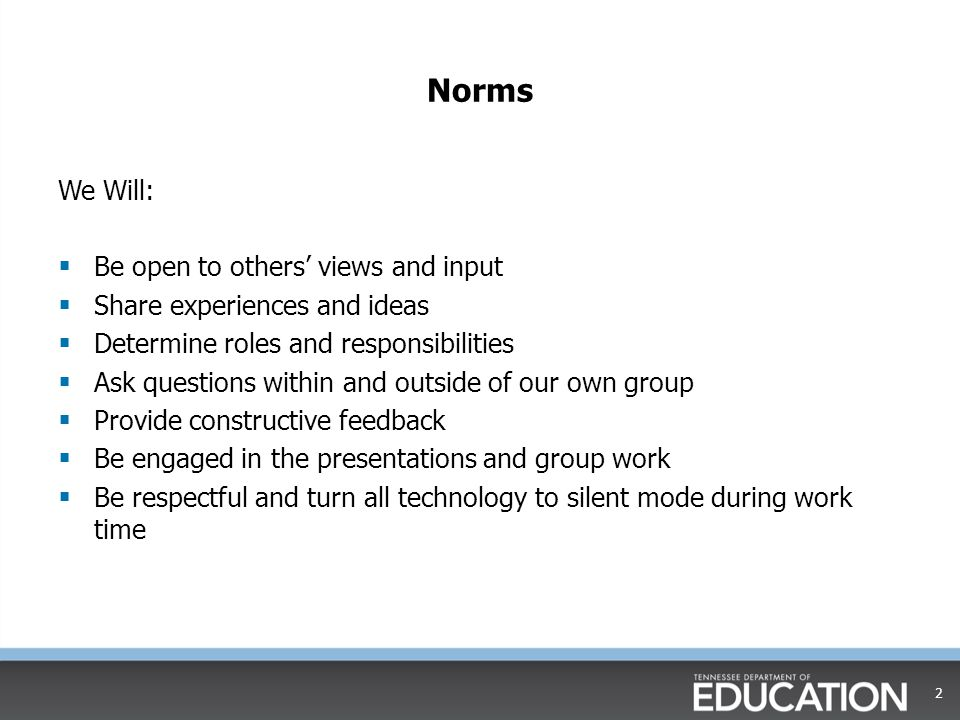 Norms We Will: Be open to others' views and input
