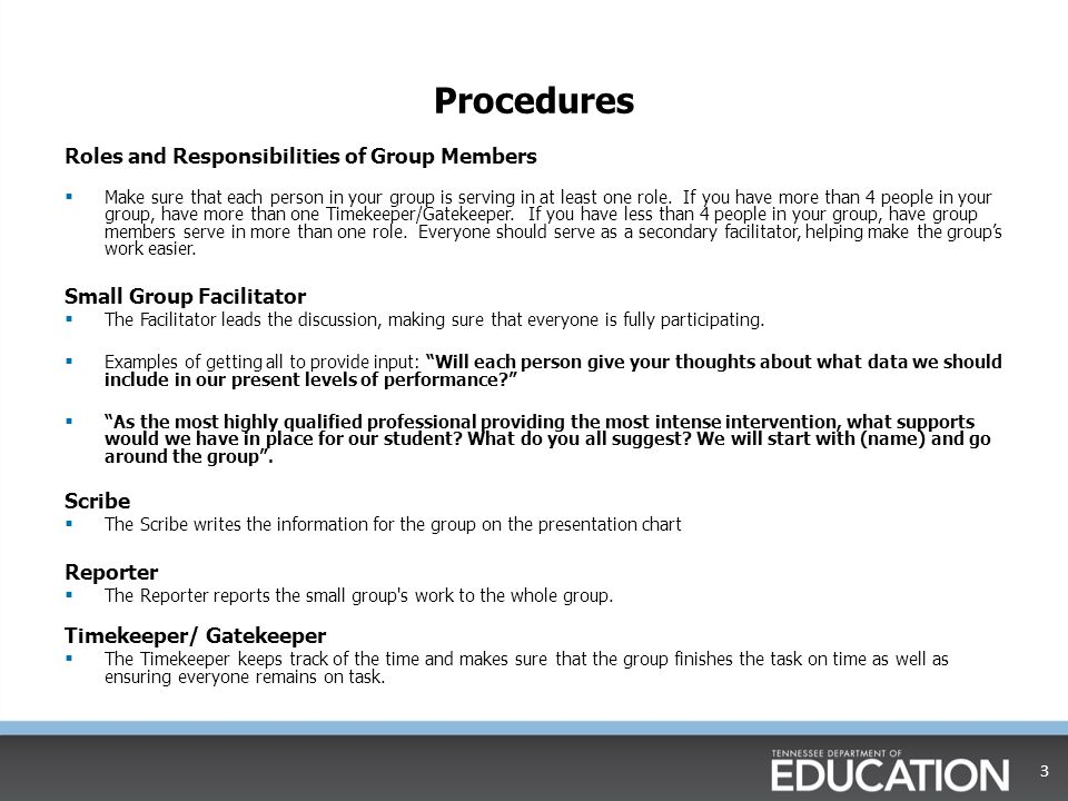 Procedures Roles and Responsibilities of Group Members