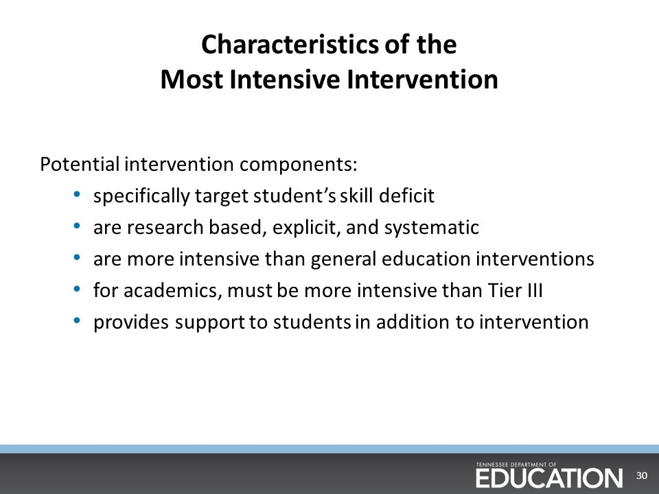 Characteristics of the Most Intensive Intervention