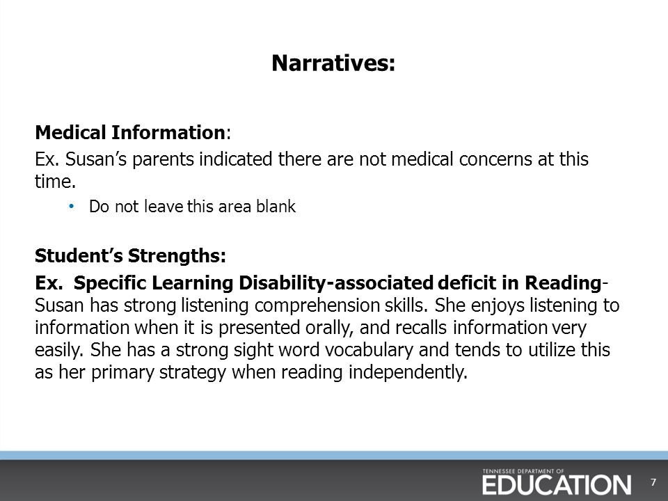Narratives: Medical Information: