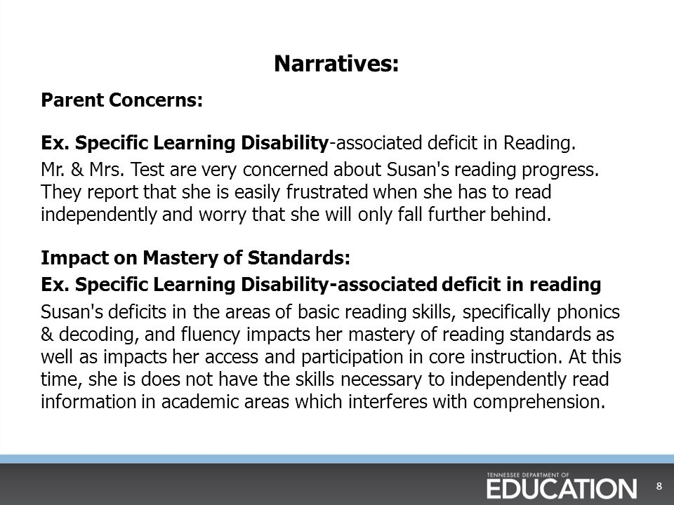 Narratives: Parent Concerns: