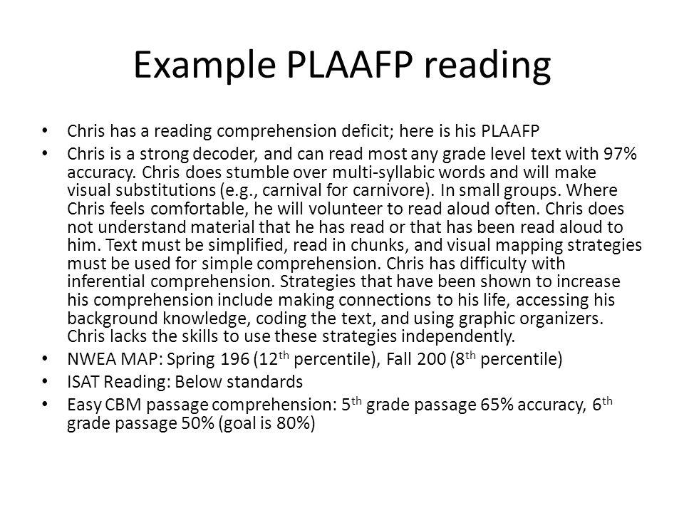 Example PLAAFP reading