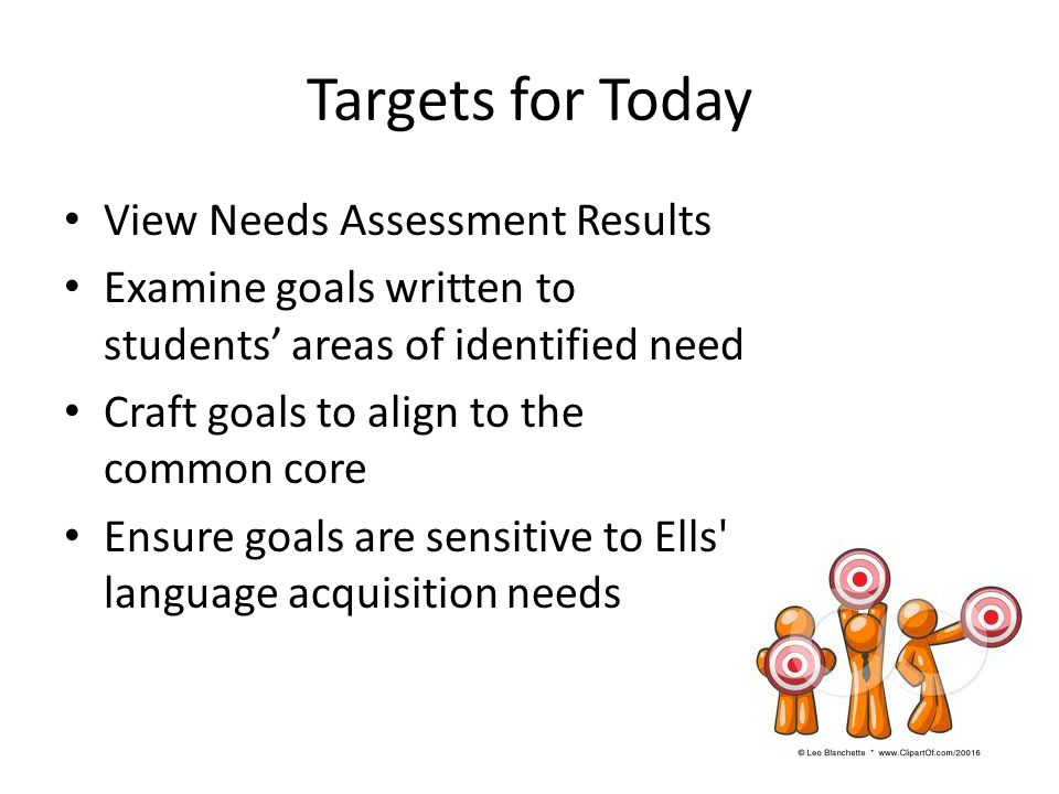 Targets for Today View Needs Assessment Results