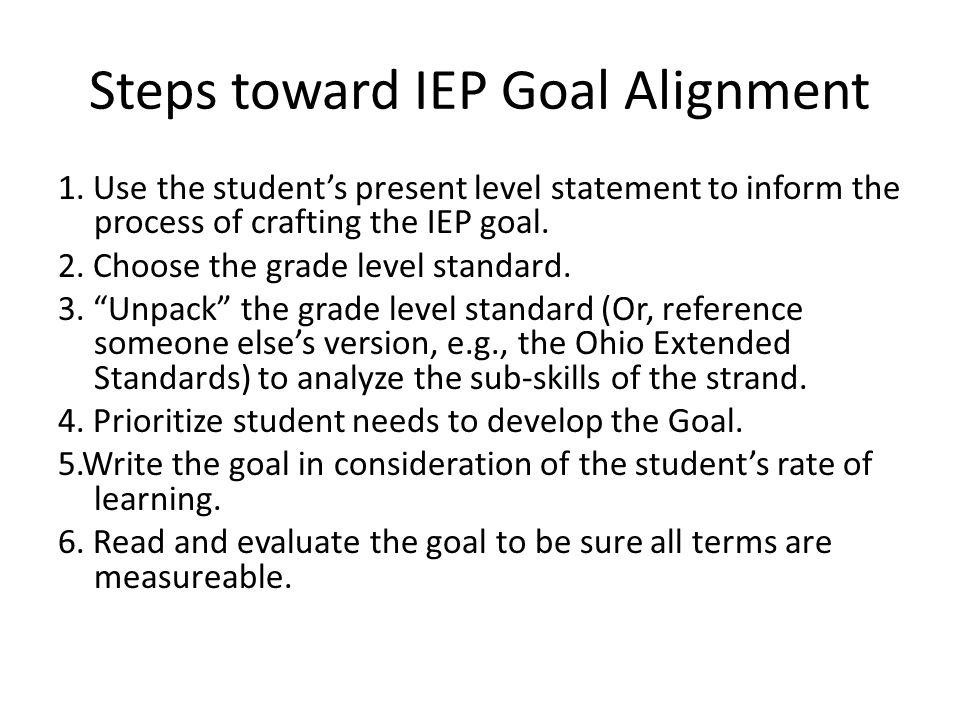 Steps toward IEP Goal Alignment