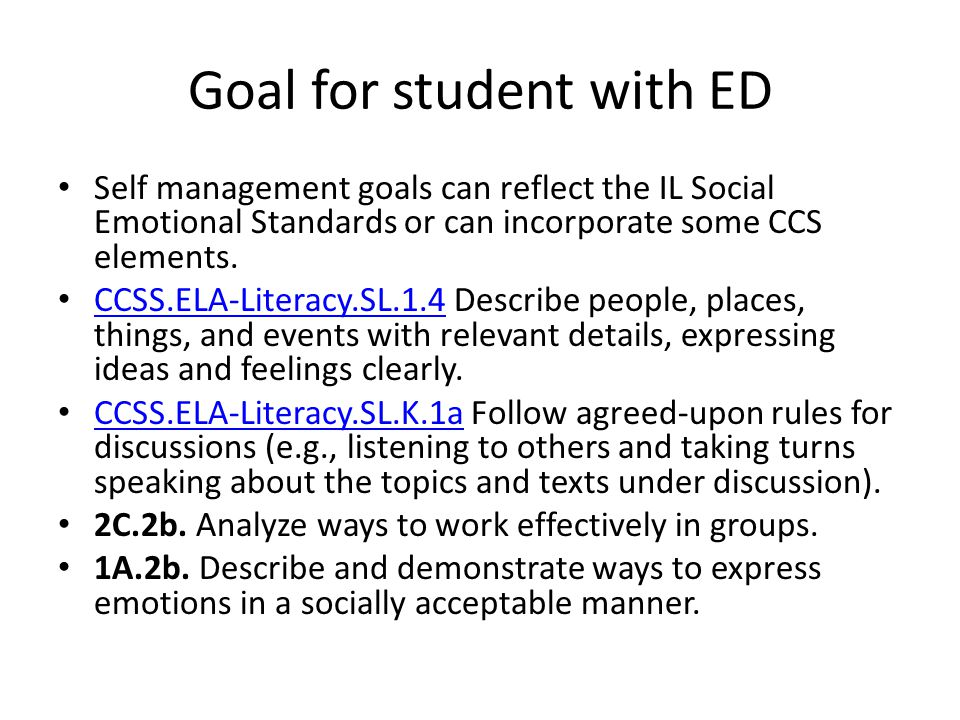 Goal for student with ED
