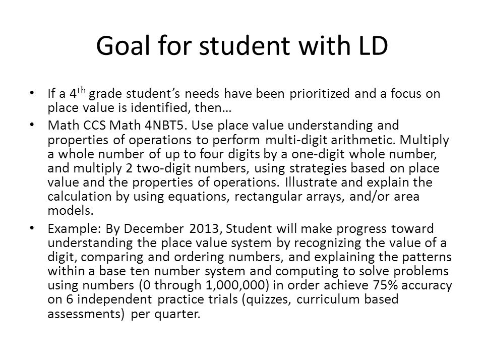 Goal for student with LD