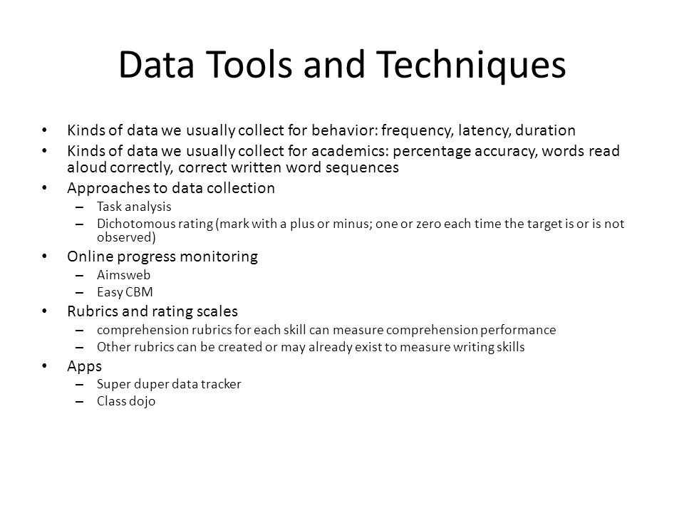 Data Tools and Techniques
