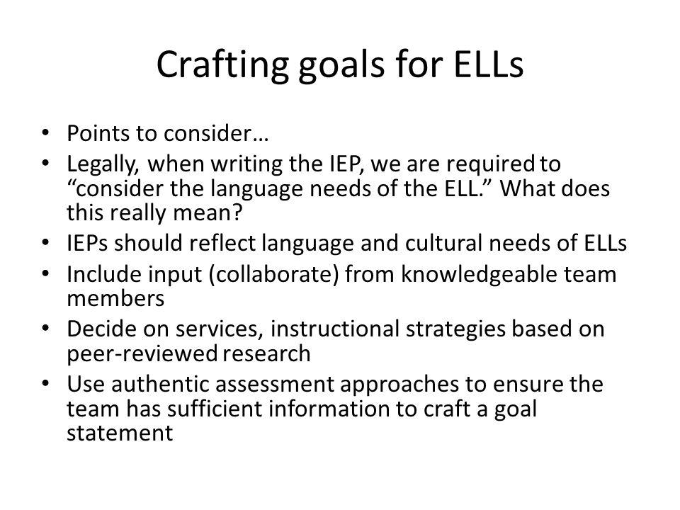 Crafting goals for ELLs