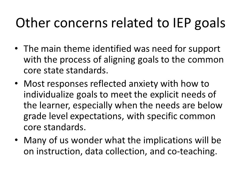 Other concerns related to IEP goals