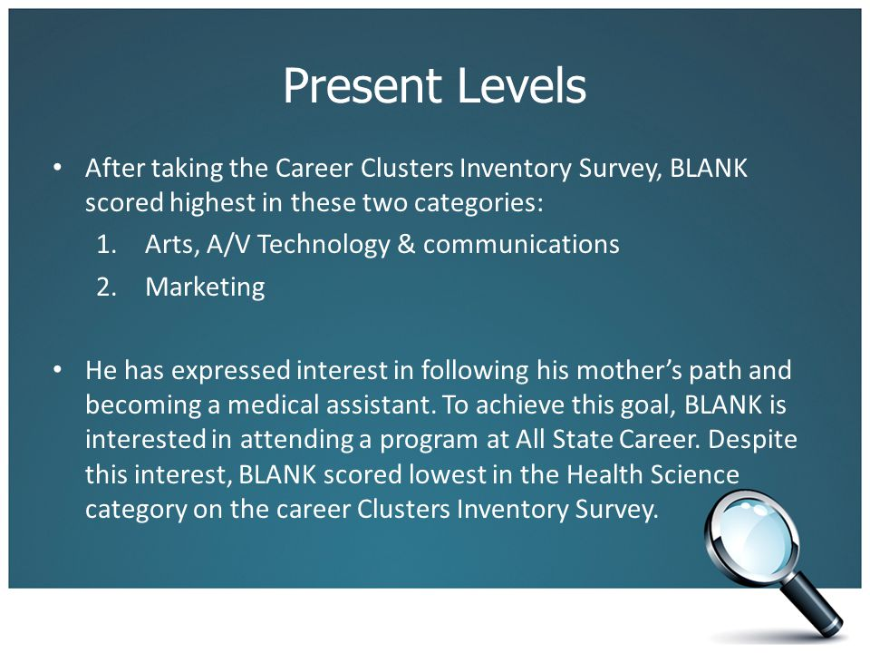 Present Levels After taking the Career Clusters Inventory Survey, BLANK scored highest in these two categories: