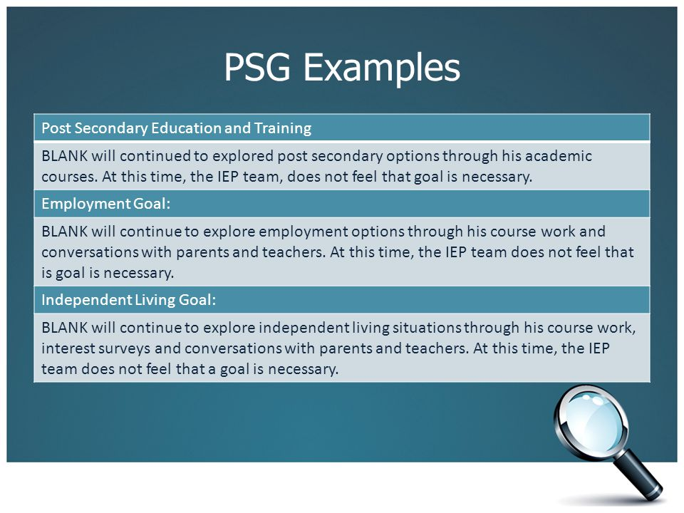 PSG Examples Post Secondary Education and Training