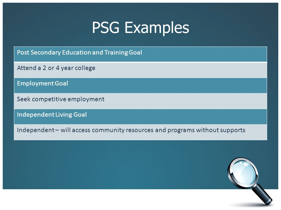 PSG Examples Post Secondary Education and Training Goal