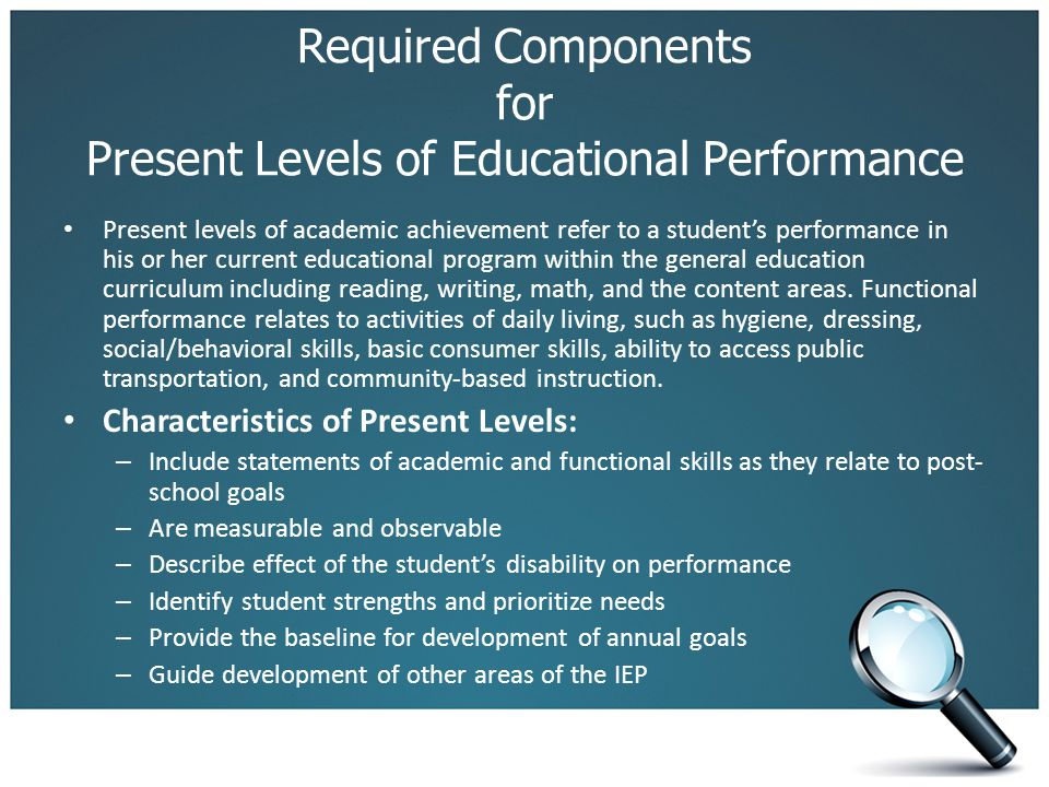 Required Components for Present Levels of Educational Performance