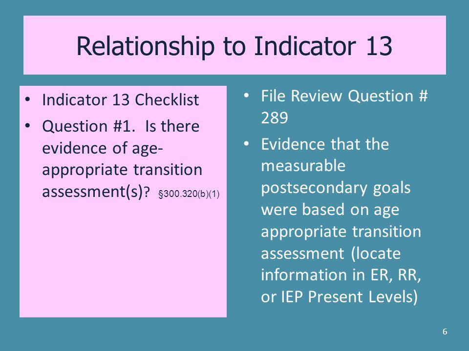 Relationship to Indicator 13