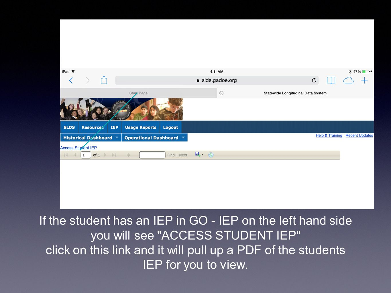 If the student has an IEP in GO - IEP on the left hand side you will see ACCESS STUDENT IEP