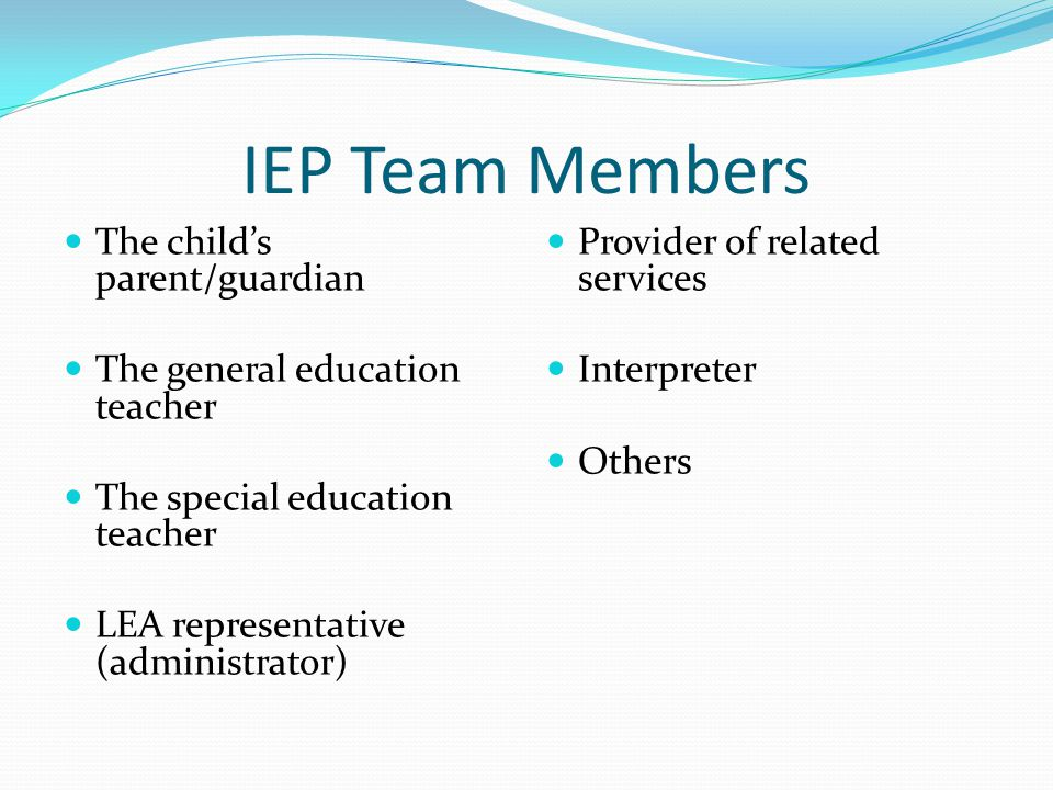 IEP Team Members The child's parent/guardian