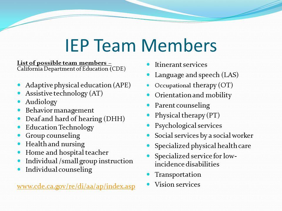 IEP Team Members Adaptive physical education (APE)
