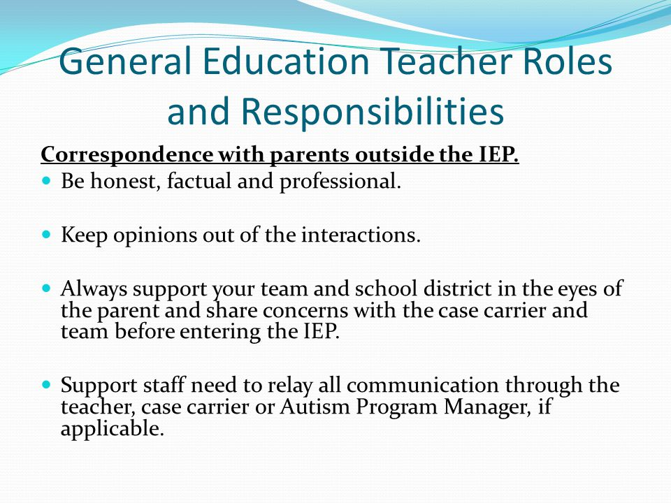 General Education Teacher Roles and Responsibilities