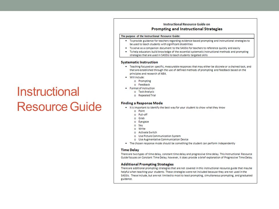 Instructional Resource Guide