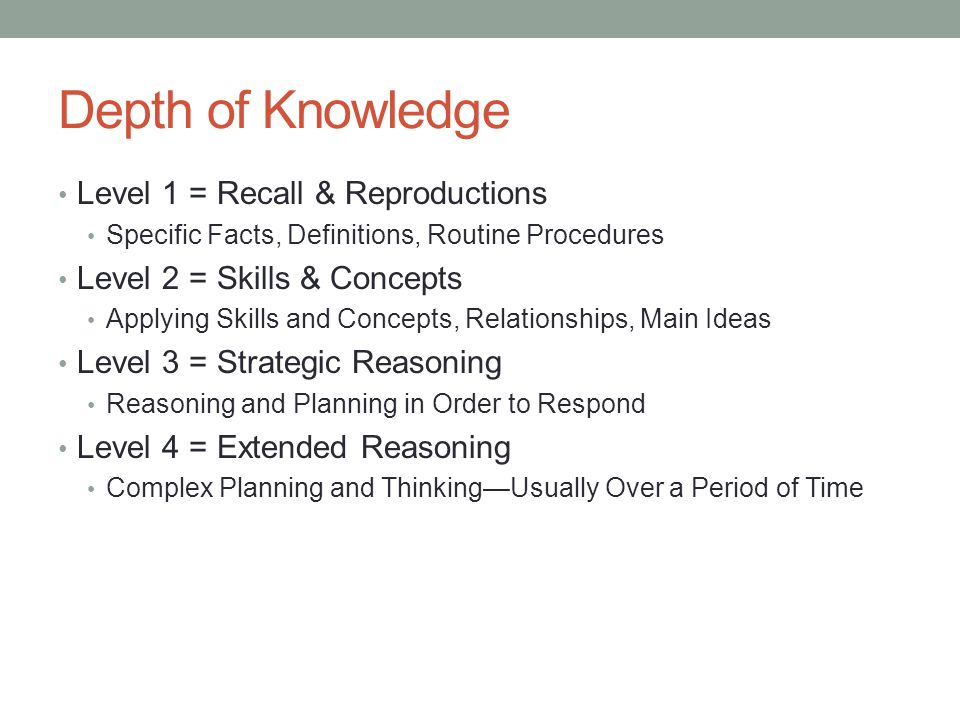 Depth of Knowledge Level 1 = Recall & Reproductions
