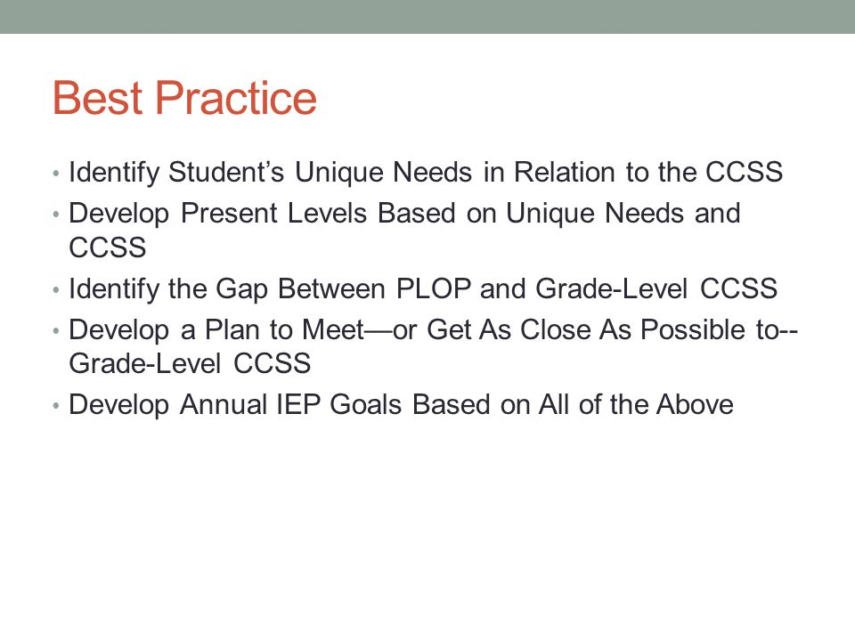 Best Practice Identify Student's Unique Needs in Relation to the CCSS