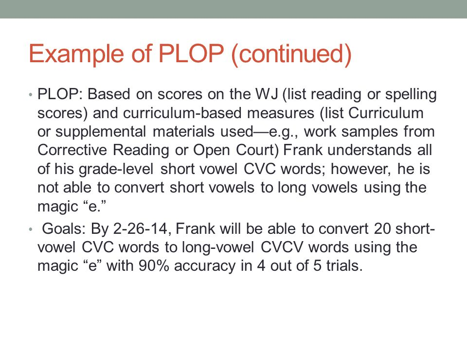 Example of PLOP (continued)