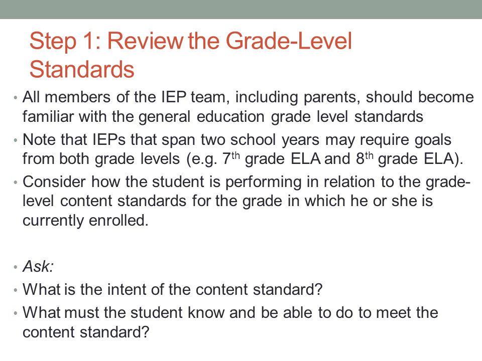 Step 1: Review the Grade-Level Standards
