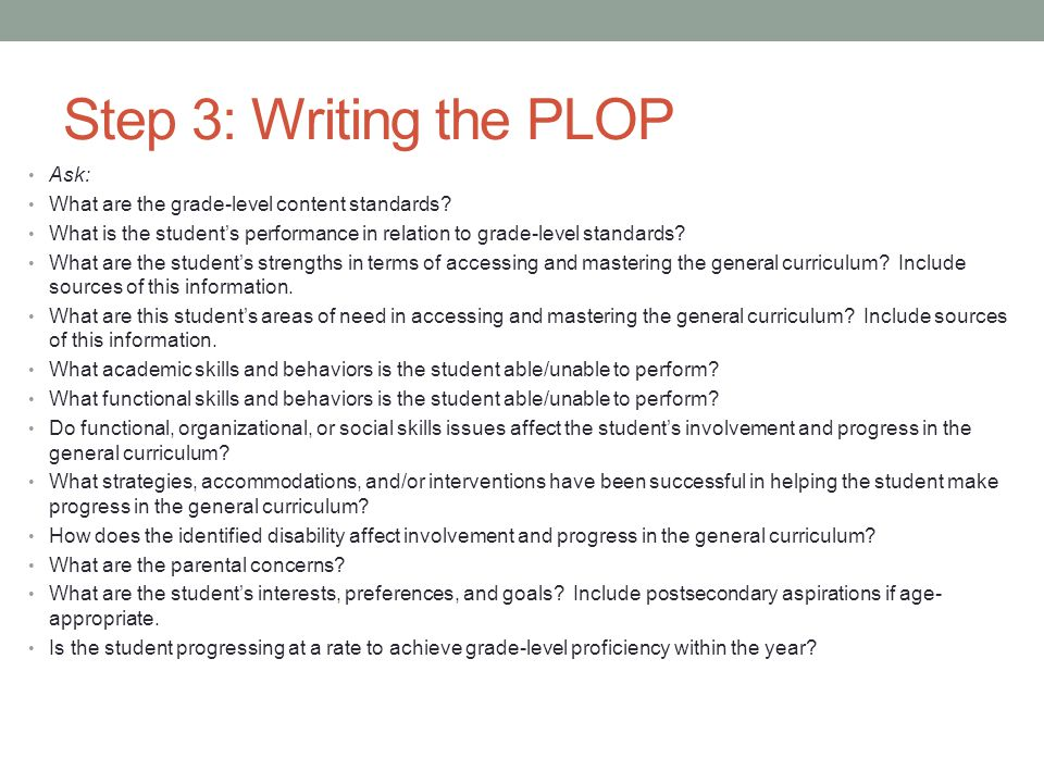 Step 3: Writing the PLOP Ask: