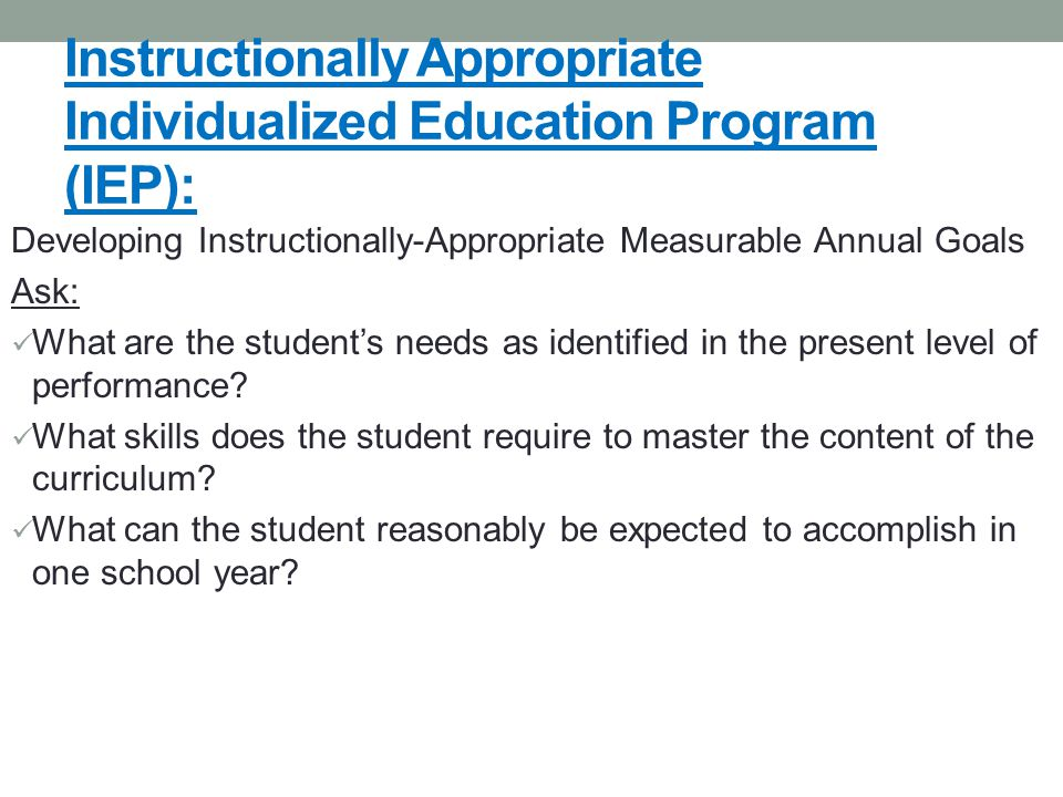 Instructionally Appropriate Individualized Education Program (IEP):
