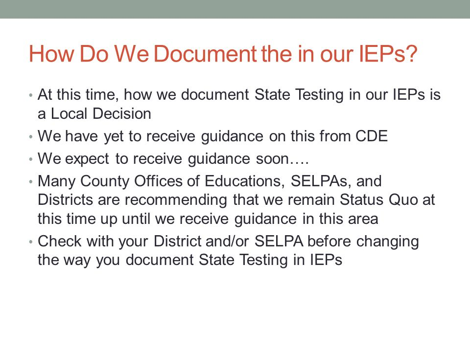 How Do We Document the in our IEPs