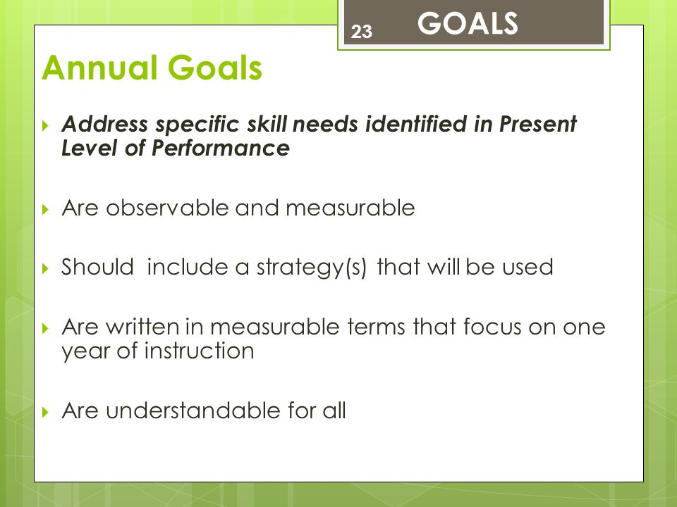 GOALS Annual Goals. Address specific skill needs identified in Present Level of Performance. Are observable and measurable.