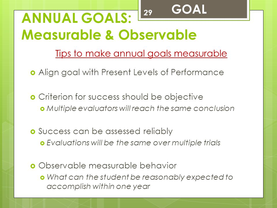ANNUAL GOALS: Measurable & Observable