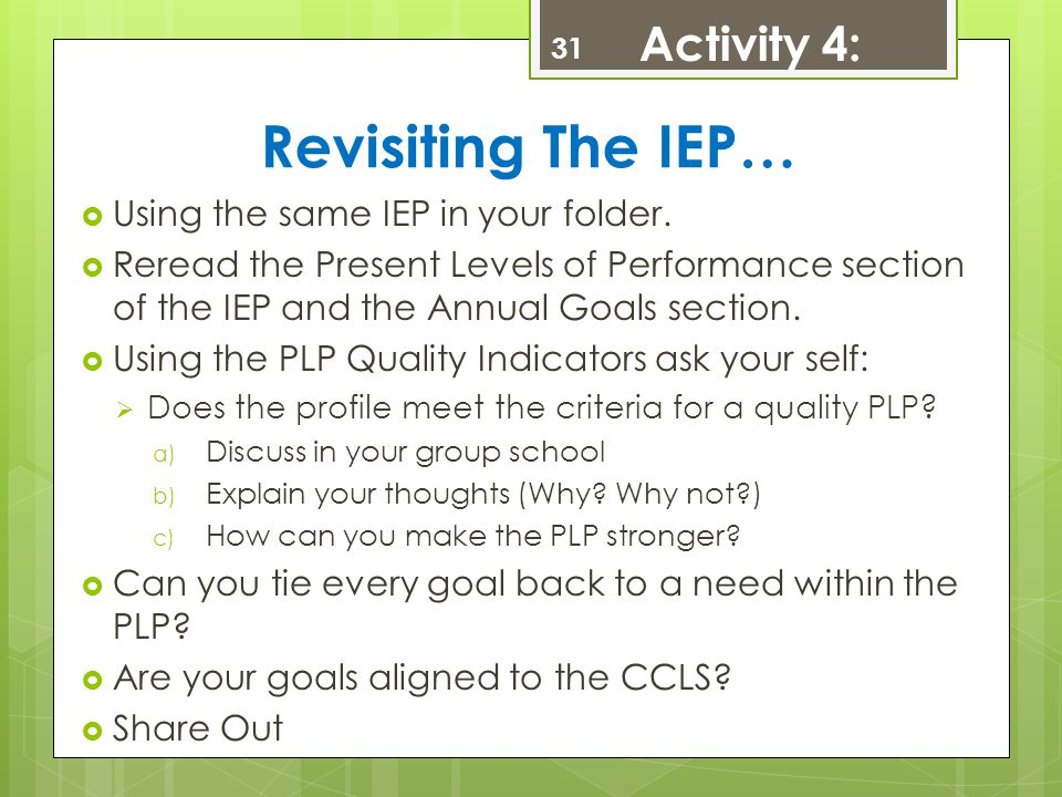Revisiting The IEP… Activity 4: Using the same IEP in your folder.