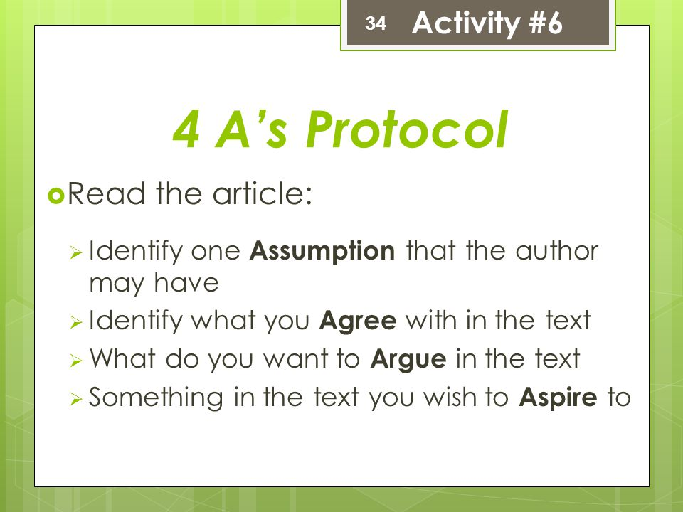 4 A's Protocol Activity #6 Read the article: