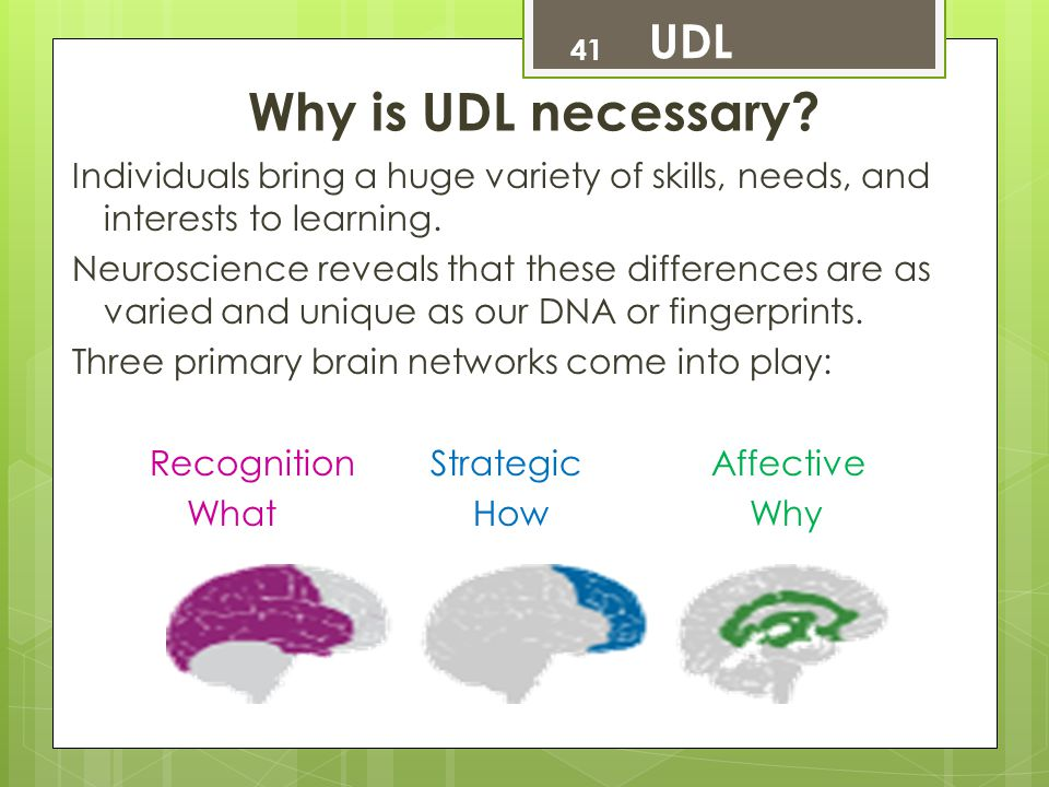 Why is UDL necessary UDL