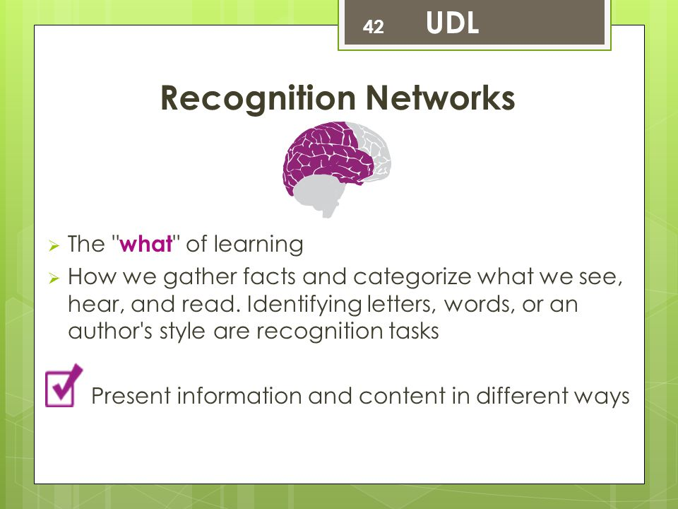 Recognition Networks UDL The what of learning