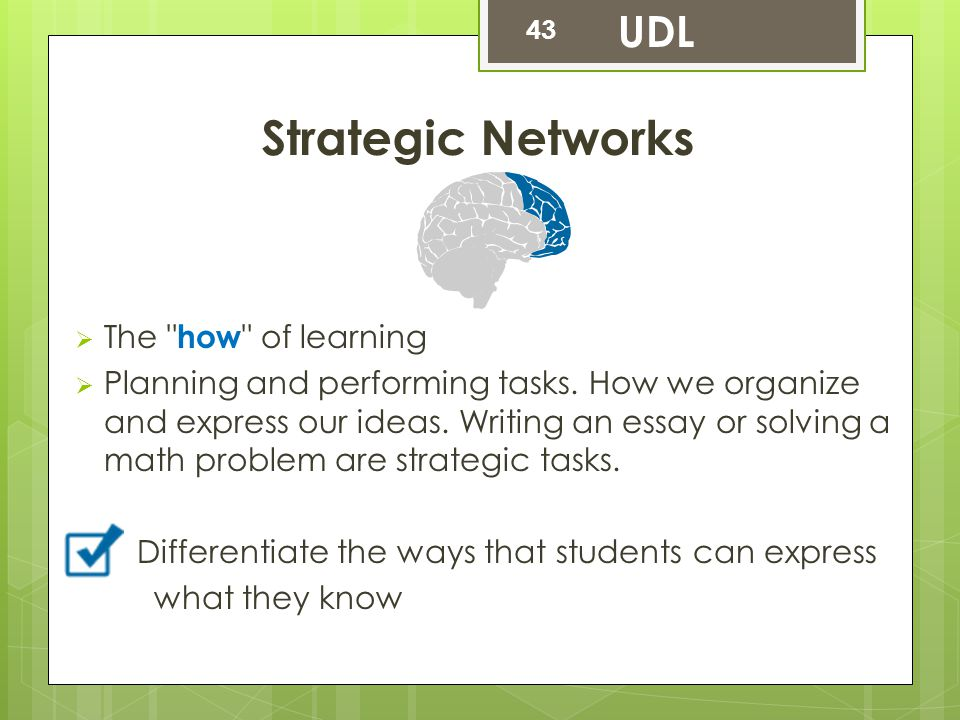 Strategic Networks UDL The how of learning