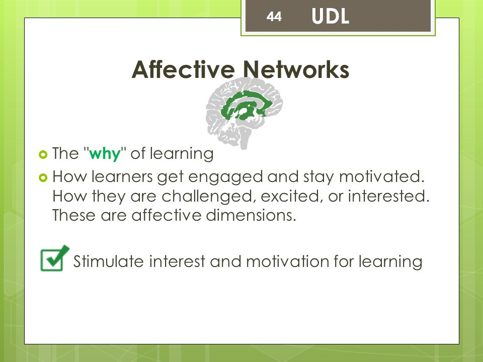 Affective Networks UDL The why of learning