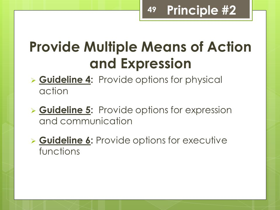 Provide Multiple Means of Action and Expression
