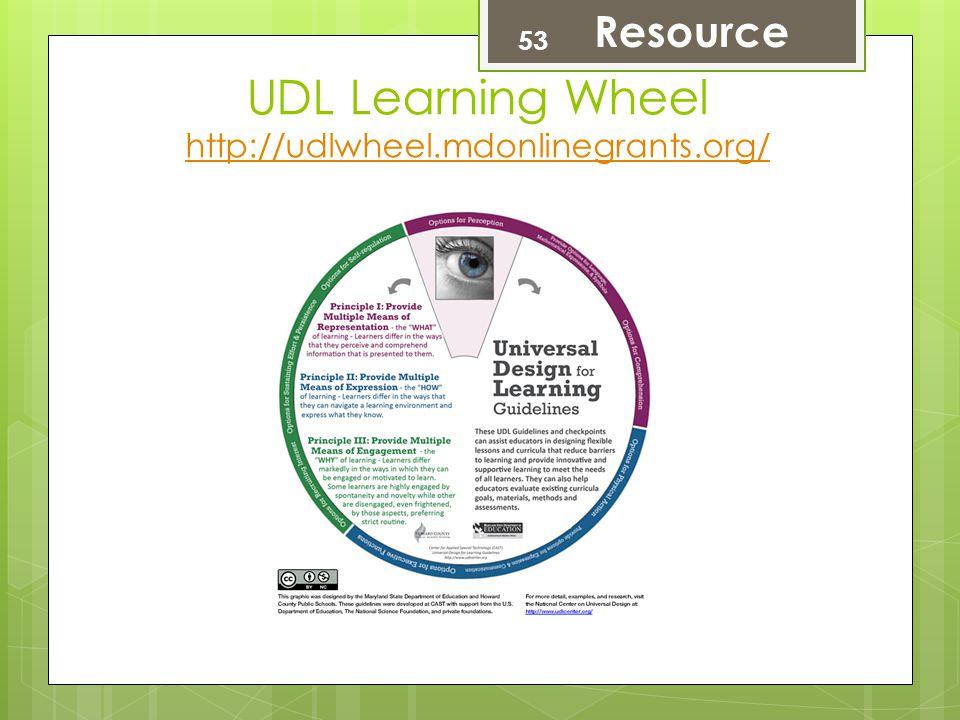UDL Learning Wheel http://udlwheel.mdonlinegrants.org/