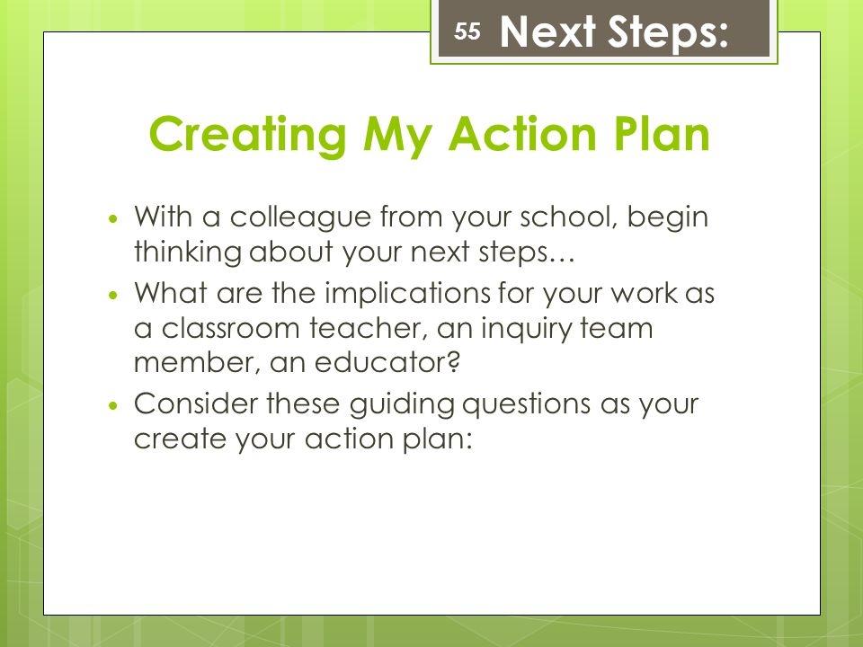Creating My Action Plan