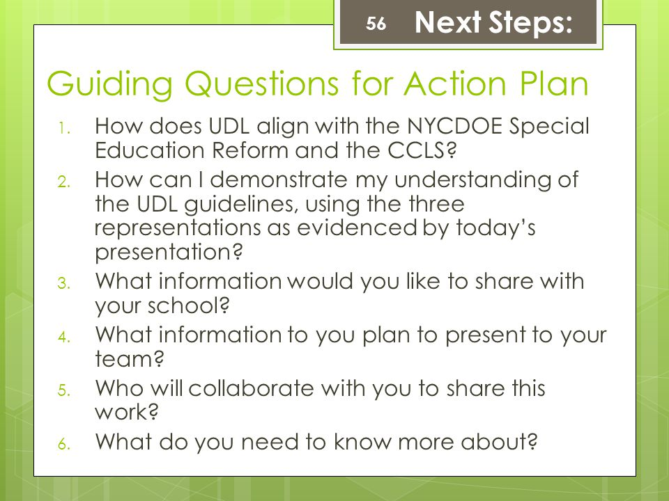 Guiding Questions for Action Plan