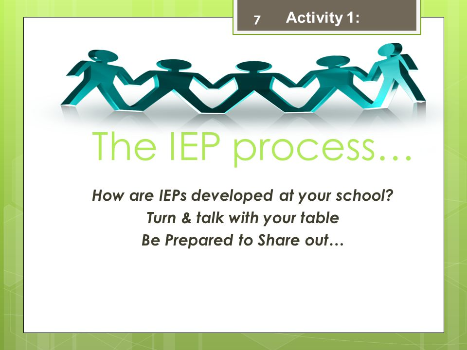 7 The IEP process… How are IEPs developed at your school.