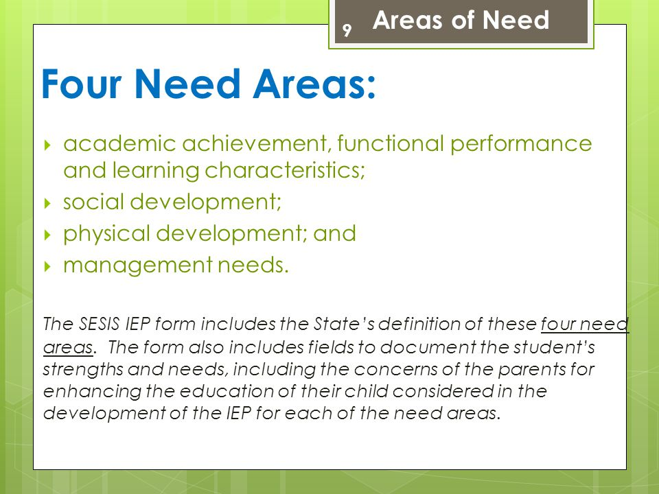 Four Need Areas: Areas of Need