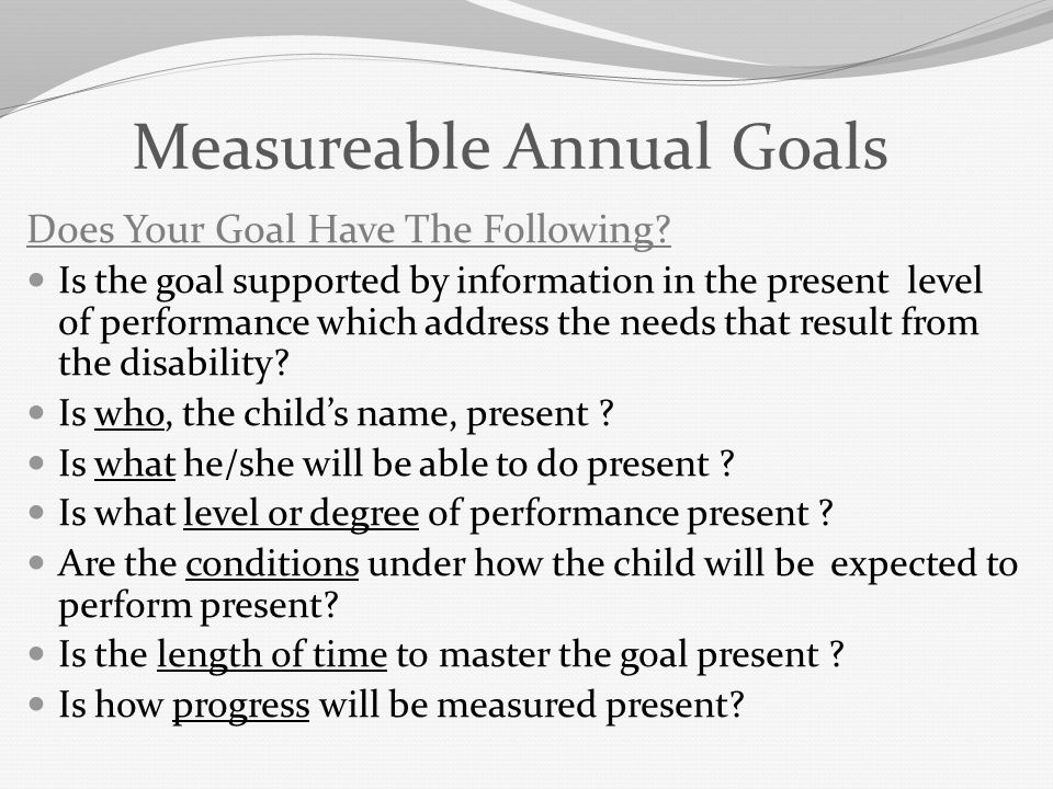Measureable Annual Goals