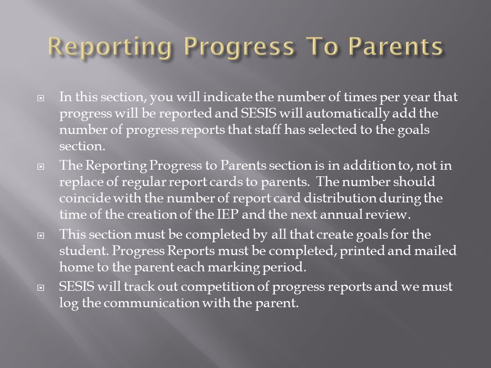 Reporting Progress To Parents