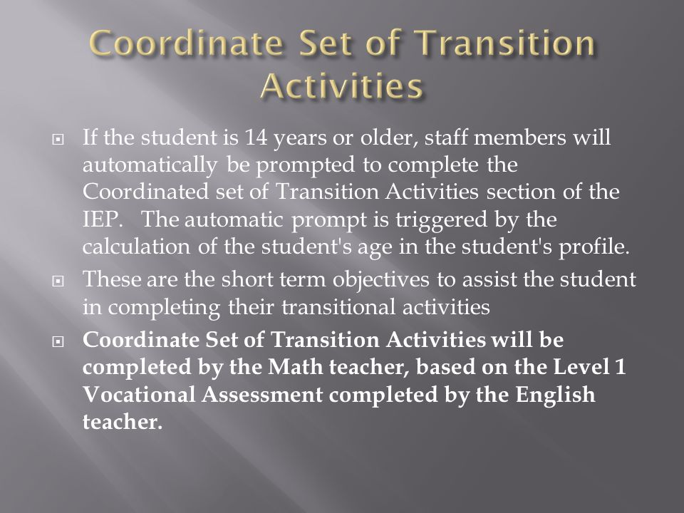 Coordinate Set of Transition Activities